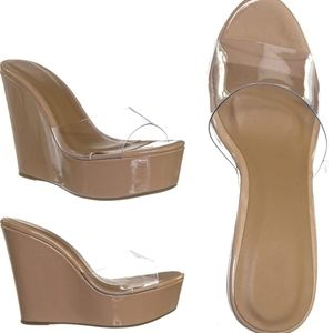 Nude wedge heels clear lucite upper 7 sexy new